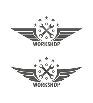 Black and white illustration of a workshop logo. Crossed keys wings of a star and text