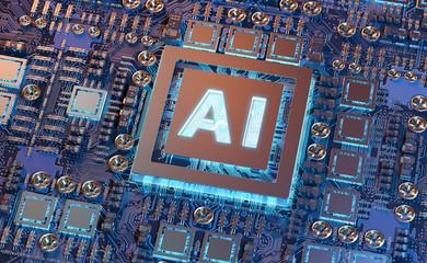 Artificial Intelligence in a modern GPU card 3D rendering