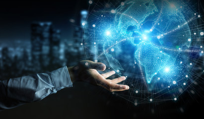Businessman hand using America USA map globe network hologram 3D rendering
