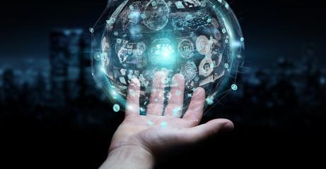 Businessman using holograms datas digital sphere 3D rendering Wall mural