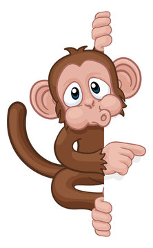A monkey cartoon character animal behind a sign peeking around and pointing at it
