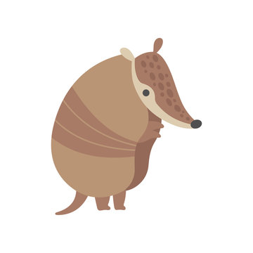 Cute Armadillo Pleistocene Animal Standing on Two Legs Vector Illustration