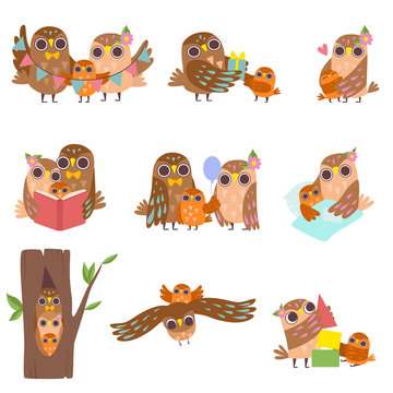 Happy Family of Owls Set, Father, Mother and Their Baby, Cute Cartoon Birds Characters Vector Illustration