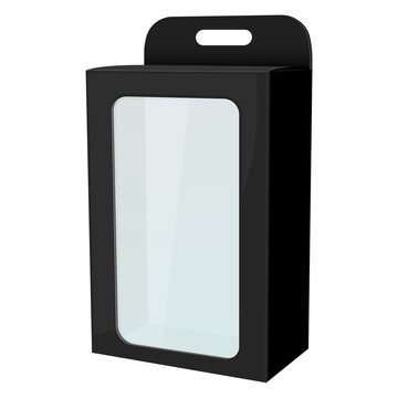 Packaging mock up. Black display box with transparent window