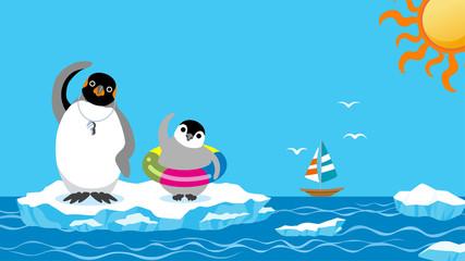 Penguin family exercising before the sea bathing
