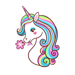 Greeting card with unicorn on a white background.