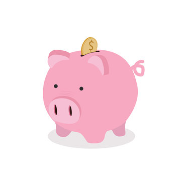 Piggy bank with coin vector Icon