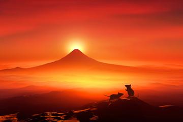 Papiers peints Rouge 富士山の日の出とネズミのシルエット