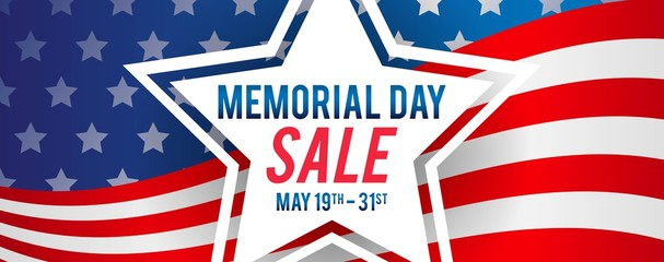 Memorial Day Sale Banner Vector illustration. Star on USA Flag Background