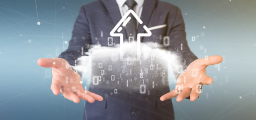 Businessman holding a Binary cloud with upload internet arrow 3d rendering