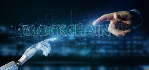 Cyborg hand holding a Blockchain title 3d rendering