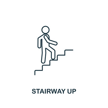 Stairway Up icon. Thin line outline style from shopping center sign icons collection. Premium stairway up icon for design, apps, software and more