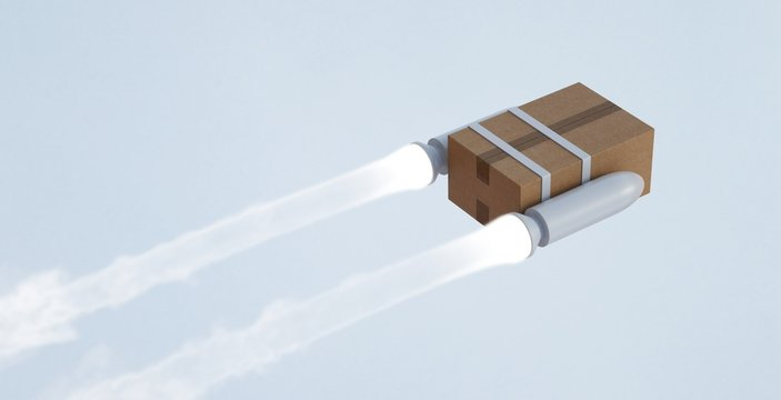 Fast shipment by air. Package with rockets flying.