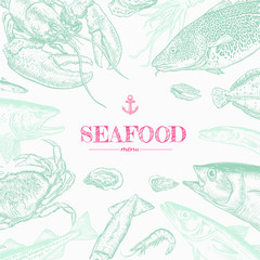 Hand drawn seafood background. Realistic river and ocean animals. Engraved style vector illustration. Template for your design works.