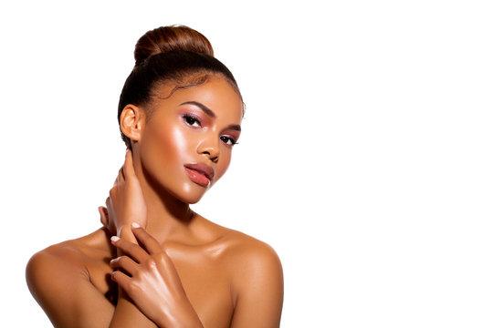 Closeup Beauty Fashion Glamour Portrait African Woman. Glitter Vivid  Pink makeup. High Fashion model. Glamour beauty Portrait young African woman with closed eyes woman - Image.