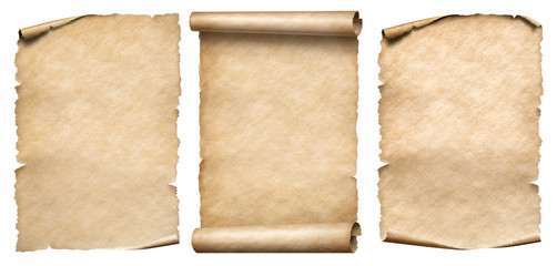 Vintage paper or parchments set isolated on white Fototapete