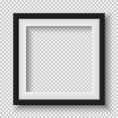 Black, white frame with soft shadow hanging on light squared room wall for text or picture