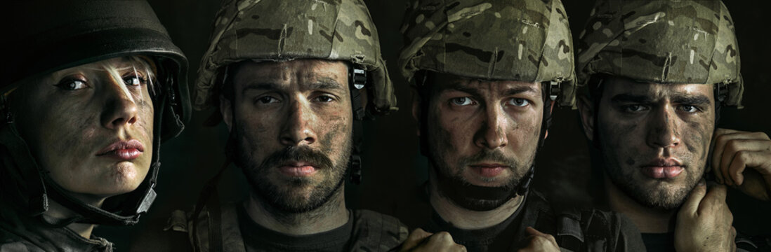 Portrait of young male and female soldier. Men and woman in military uniform on the war. Depressed and having problems with mental health and emotions, PTSD, rehabilitation. Creative collage.
