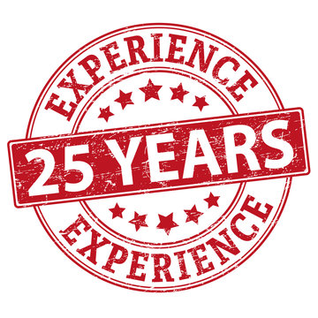 Rubber web stamp with text 25 Years Experience