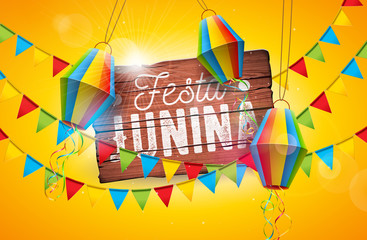 Festa Junina Traditional Brazil June Festival Design with Typography Letter on Vintage Wood Board. Vector Celebration Illustration with Party Flags and Paper Lantern on Yellow Background for Banner