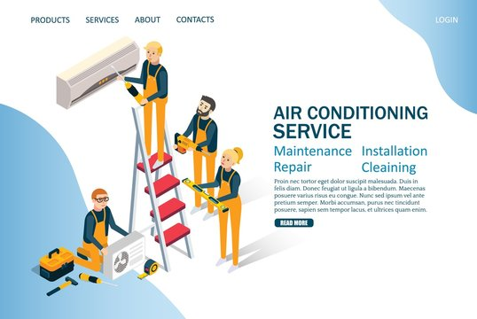 Air conditioning service vector website landing page design template