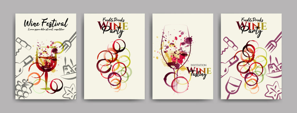collection of templates with designs for wine, wine and food events. Flyers, posters, invitation cards, banners, menus. Wine stains background. Idea with wine glasses stains and food symbols. Vector