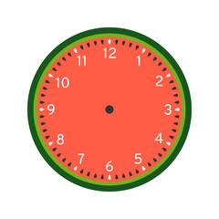 Watermelon printable clock face template isolated on white background
