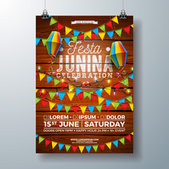 Festa Junina Party Flyer Design with Flags, Paper Lantern and Typography Design on Vintage Wood Background. Vector Traditional Brazil June Festival Illustration for Invitation or Holiday Celebration