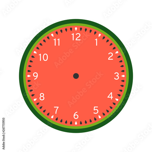 image about Printable Clock Face identified as Watermelon printable clock facial area template isolated upon white