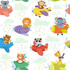 Seamless pattern with cute animal on planes in sky. Funny pilots. Giraffe, bear, tiger, elephant, monkey, lion, panda, koala. Vector illustration