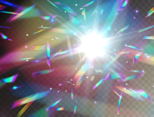 Holographic falling confetti glitters isolated on transparent background. Rainbow iridescent overlay texture. Vector festive foil hologram tinsel with bokeh light effect and glare flash.