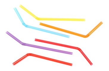 Colorful drinking straws isolated on white background, top view