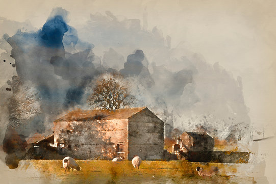 Watercolour painting of Typical stone barn and sheep in Yorkshire Dales England