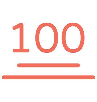 100 emoji icon in flat design.