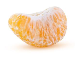 one slice of mandarin isolated on white background orange clipping path