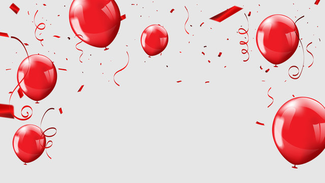 Red balloons, confetti concept design template 17 August. Indonesia Happy Independence Day, background Celebration Vector illustration.