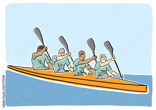 Academic canoe rowing  Team of four male rowers  Vector flat