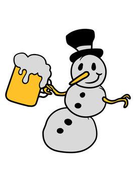 schneemann bier alkohol trinken durst saufen betrunken glas krug maß oktoberfest comic fröhlicher zylinder hut winter weihnachten kalt schnee basteln bauen schneeball spaß spielen cartoon lustig clipa