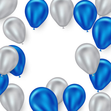 Beautiful blue and silver balloon background for parties - festivals and celebrations