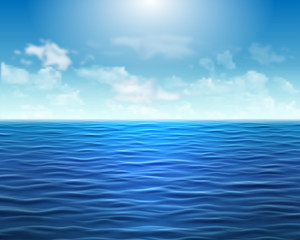 Foto op Plexiglas Blauwe jeans Realistic blue sea background with waves and sun on the sky