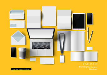 Top View Of Office Stationery Mockup