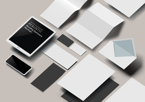 A set of realistic business stationery and tools mockup template with 3D effect. Vector illustration.