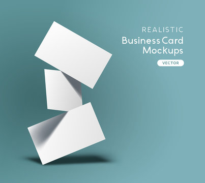 Floating stack of business cards. Brand identity mockup design with shadows. Vector illustration.