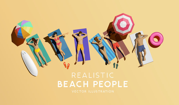 Couples and friends enjoying the summer at the beach. Aerial view of people relaxing, vector illustration.
