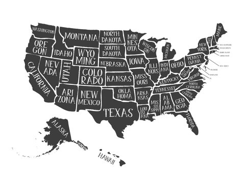 Vintage American Map Poster With States Names/ Illustration of a vintage grunge textured american map background, with names of the fifty states