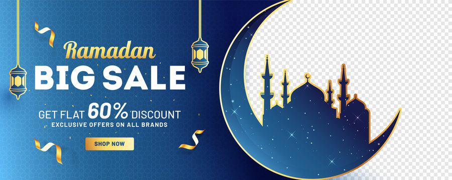 Ramadan Big Sale header or banner design with 60% discount offer, silhouette of moon with mosque on blue and png background.
