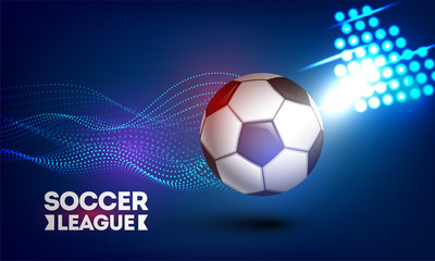 Soccer League banner or poster design with football on blue futuristic technology background.