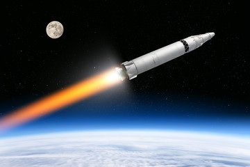 nuclear intercontinental ballistic missile from cold war era flying out of planet earth aerial view of launch silver painted ground to space rocket vehicle with atom warhead nuclear threat concept