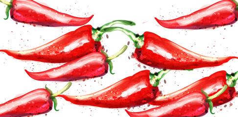 Slats personalizados com sua foto Chili Vector watercolor pattern. Menu restaurant textures on whites
