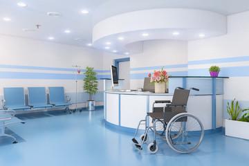 3d Illustration - Warteraum, Wartezimmer in einer Arztpraxis